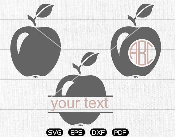 Apple Svg Apple Clipart Monogram Frame Cricut Cameo Etsy