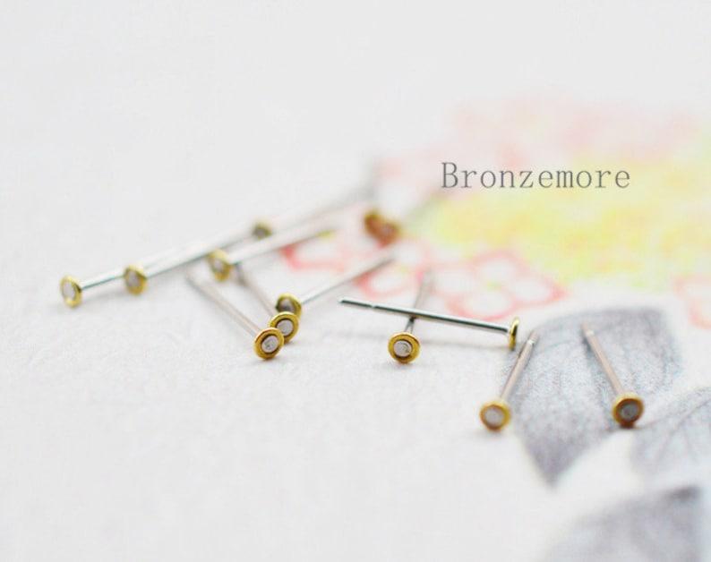 372ec513a 100pcs Stainless Steel Post Earring W/ 2mm/ 3mm/Round Bezel | Etsy