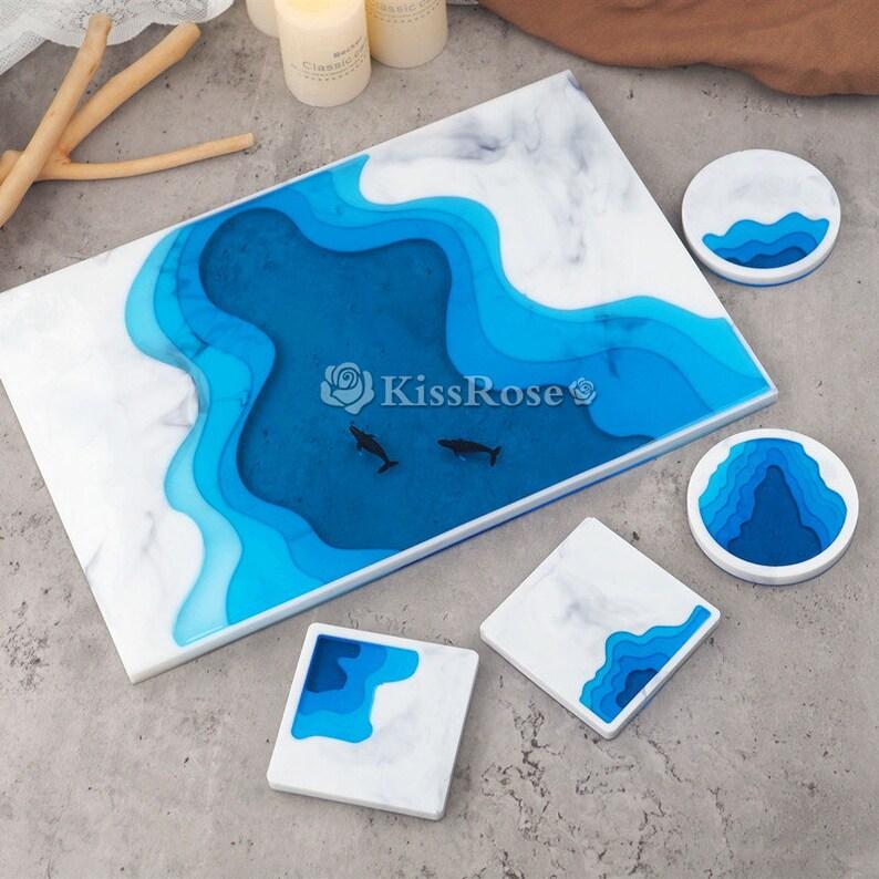 Creative ocean silicone tray mold-Terraces coaster resin molds-Ocean Resin wine coaster mold-Silicone cup mat mold-Silicon tea tray mold