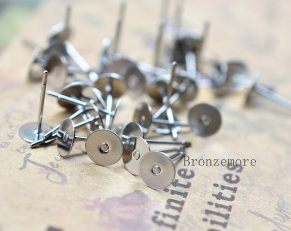 Surgical Stainless Steel 10mm Flat-Pad Earring Posts and Backs findings 200pcs