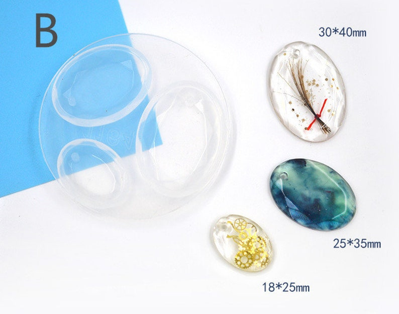 Pendant Mold With Hole Perforated Silicon Resin Mold Cut Surface Droplet Elliptical Necklace Epoxy Resin mold