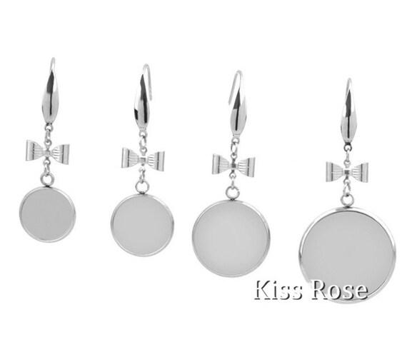 915e14d69 Surgical Steel Bezel French Earring Bases Blanks Earring | Etsy
