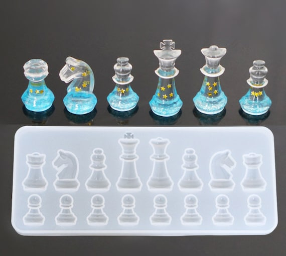 Silicone chess mold - Clear resin mold for chess - chess molds for craft  making - DIY international chess moulds - 3d chess mold