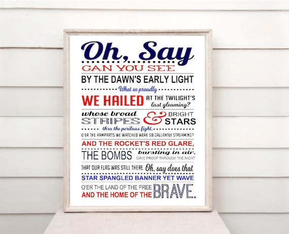photograph relating to National Anthem Lyrics Printable named Star Spangled Banner print obtain, Countrywide Anthem printable, The us, United states, Patriotic, 4th of July print