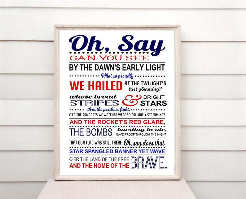 image relating to Star Spangled Banner Lyrics Printable identify Star Spangled Banner print down load, Countrywide Anthem printable, The us, United states of america, Patriotic, 4th of July print