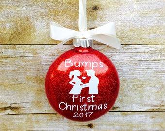 bumps first Christmas - Pregnancy announcement Christmas ornament.