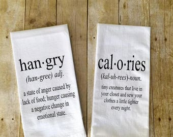 SET of 2 kitchen towels Hangry definition Calories definition