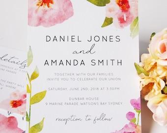 Pink Watercolour Floral Wedding Invitation Suite Sample