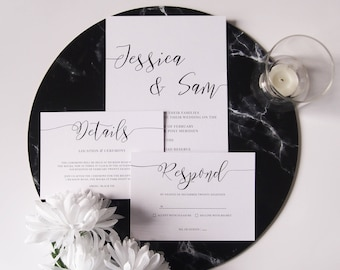 Minimal Calligraphy Wedding Invitation Suite Sample