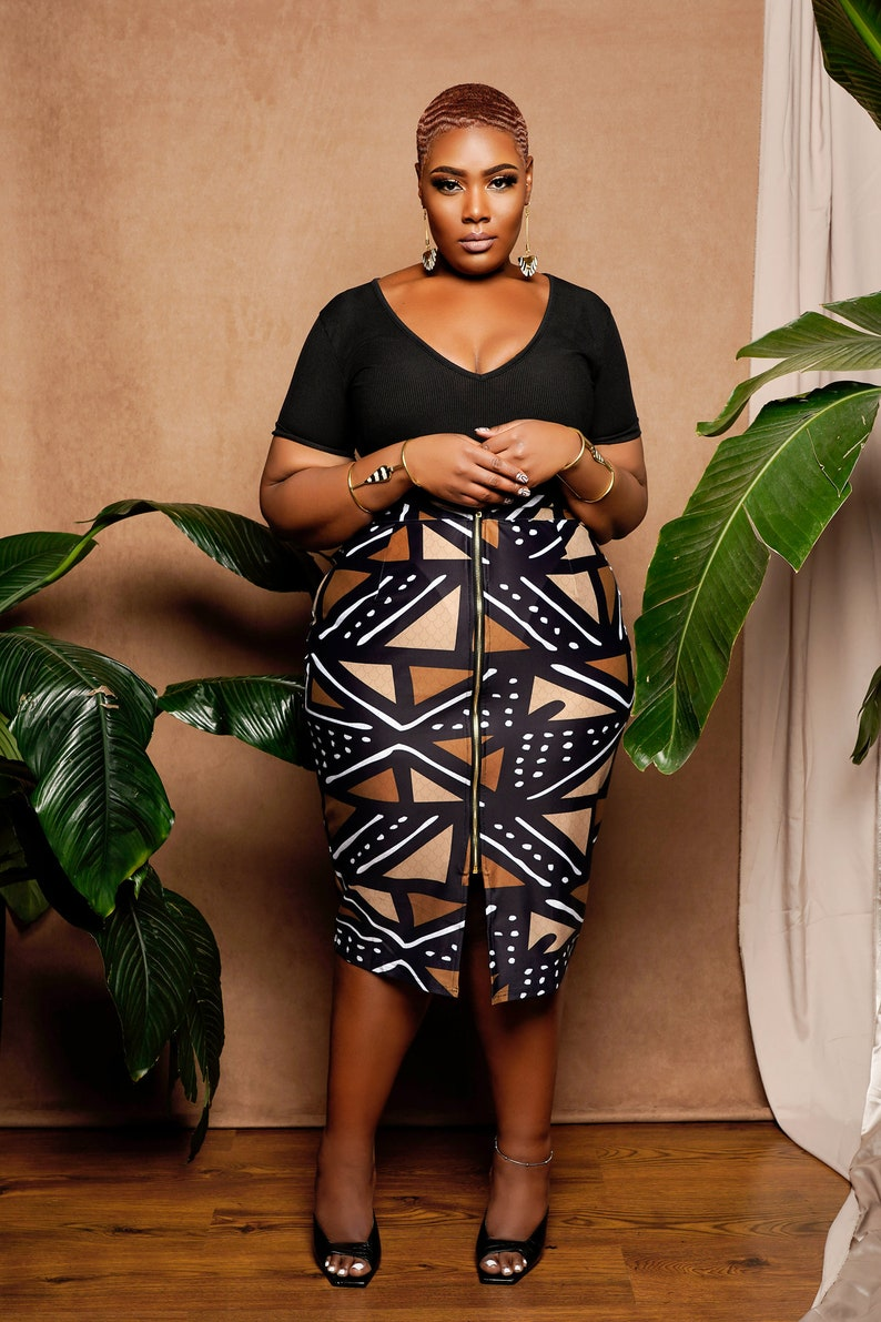 Stretchy African Print Pencil Skirt