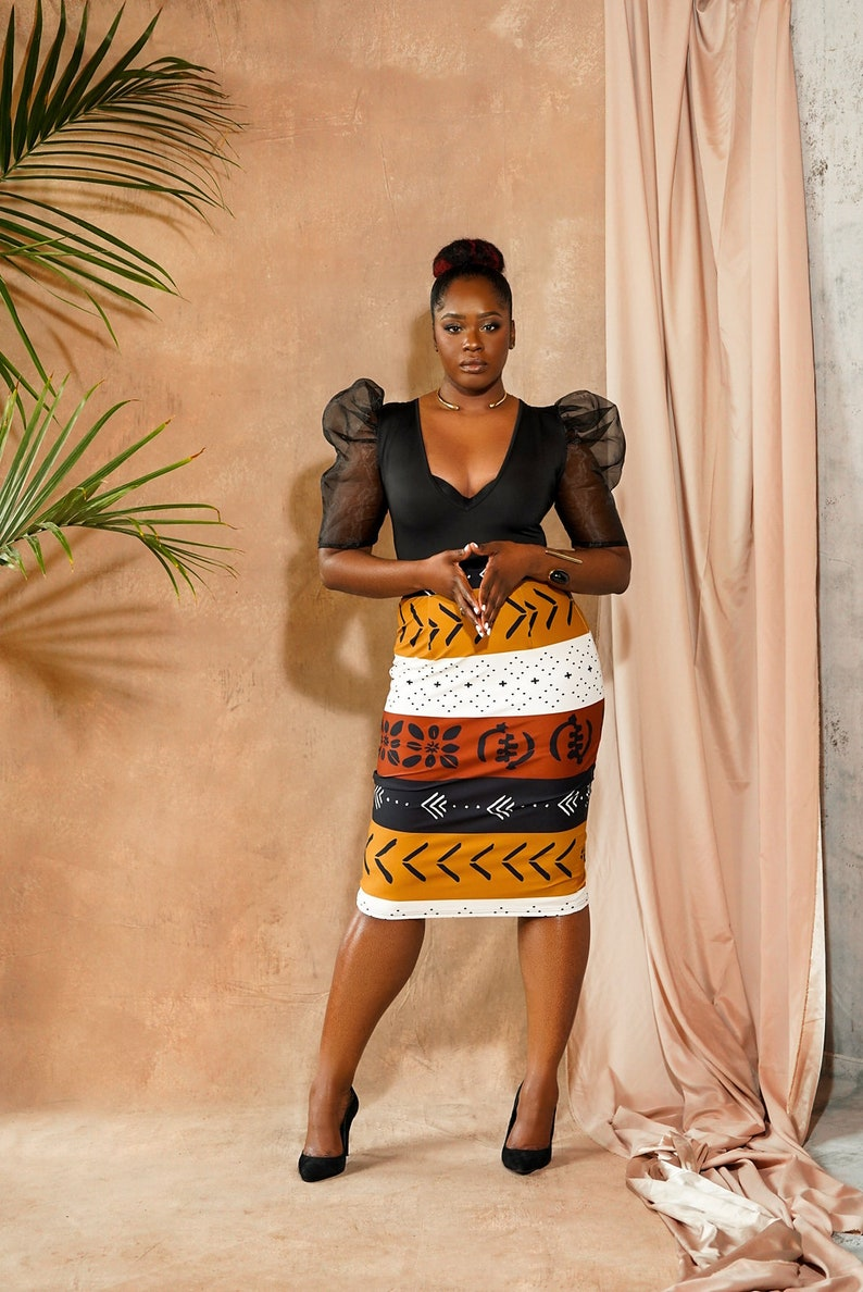 Lona Stretchy African Print Pencil Skirt