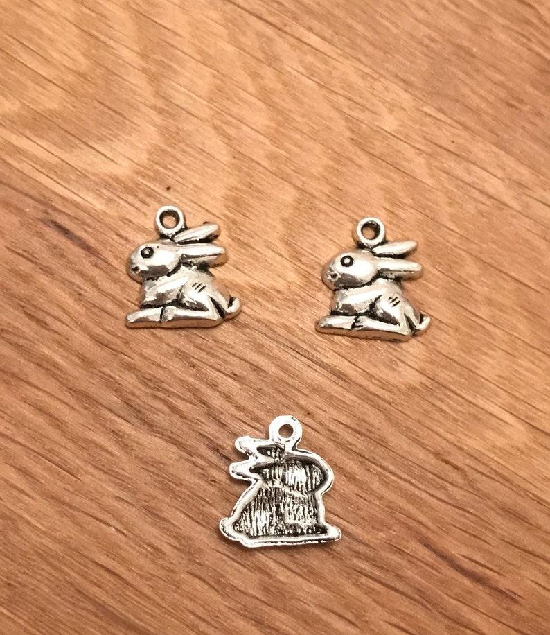 10 Rabbit charms tibetan silver A250