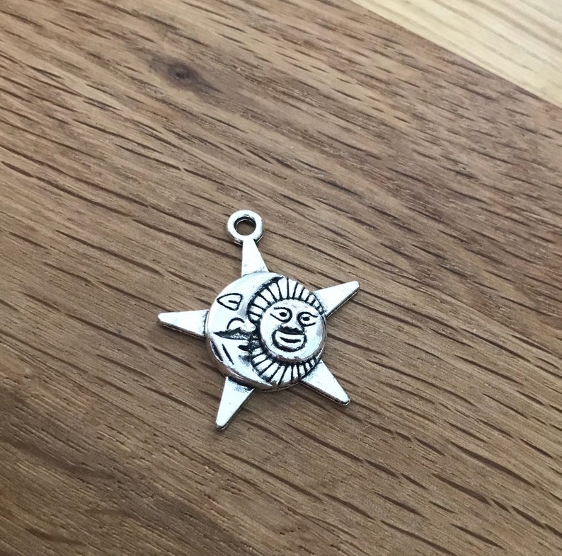Sun and Moon Star Silver Tone Charms