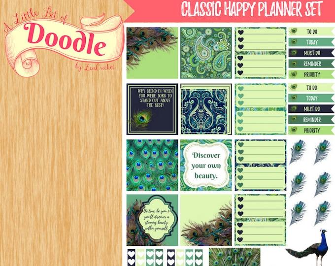 Peacock Beauty Stickers|Horz Classic Happy Planner Stickers|Classic Happy Planner Stickers| Happy Planner Stickers|