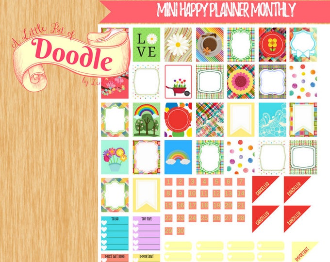 April Monthly Mini |Happy Planner Stickers|Month of April Stickers|