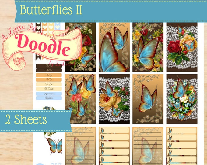 Brown and Blue Butterfly Stickers | Big Happy Planner Stickers | Happy Planner Stickers | Create 365 Stickers | MAMBI Stickers