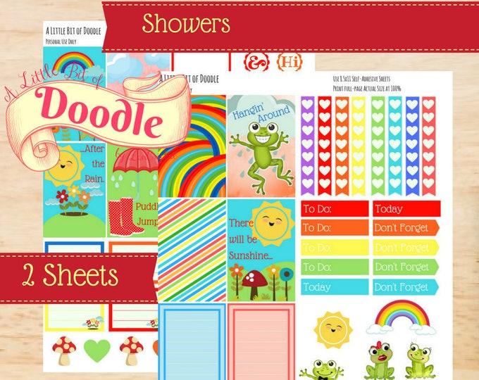Showers|BIG Happy Planner Sticker Kit | Sticker Printable Kit| MAMBI Stickers| Create 365| Memory Keeping Stickers