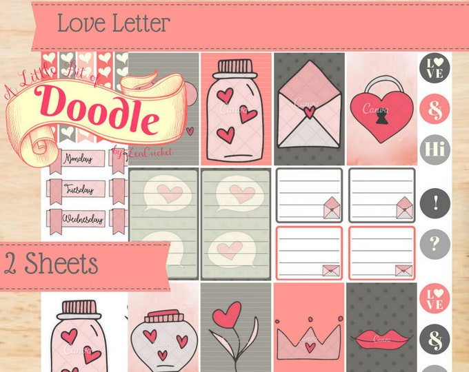 New 2018 Size| Love Letter | BIG Size Happy Planner Stickers | Create 365 | MAMBI Happy Planner Sticker Kit Printables Memory Keeping