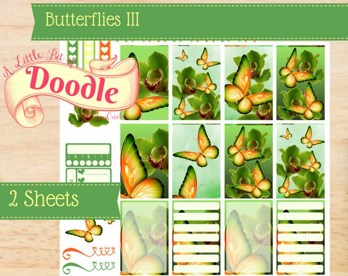 Orange Butterfly Stickers | Butterfly Stickers | Big Happy Planner Stickers | Happy Planner Stickers | Create 365 Stickers | MAMBI Stickers