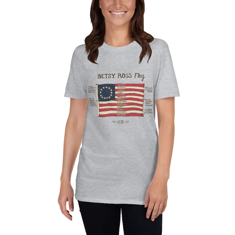 85956506 Womens Betsy Ross Flag 1776 Shirt - 13 Star Vintage American Flag Tshirt