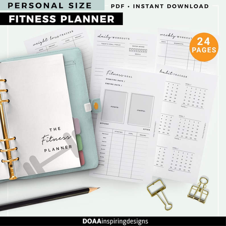 Personal size Fitness planner health planner workout tracker image 0