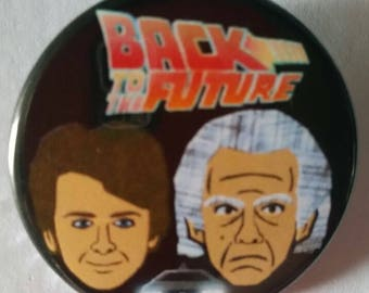 Back to the Future. Marty & Doc. Custom 38mm Pin Badge.