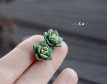Green succulent earrings, botanical jewelry, plant earrings, gift for her