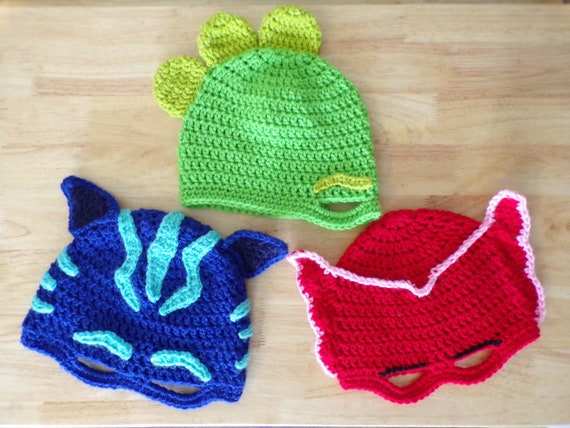 Crochet PJ Masks Inspired Mask Hat  09831b74f1b