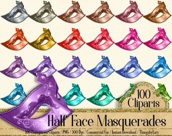100 half face masquerade cliparts fashion cliparts 300 dpi instant download commercial use festival mask scrapbook theatre kit