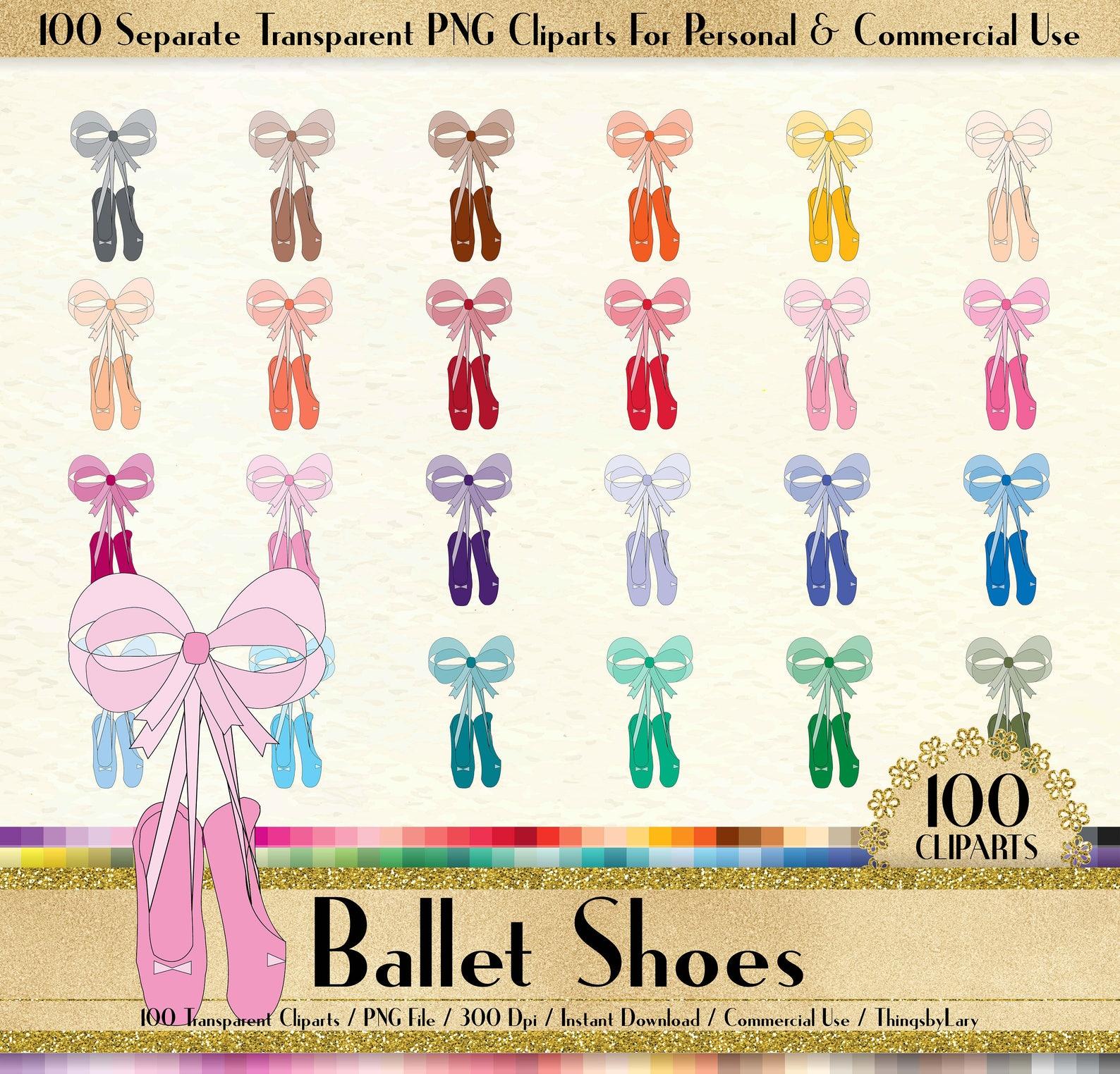 100 ballet shoes clipart,princess shoes,100 png clip art,planner clipart,instant download clipart,kid girl clipart, fashion clip