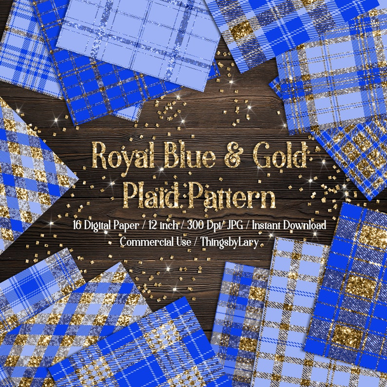 16 Luxury Gold and Royal Blue Glitter Plaid Tartan digital image 0