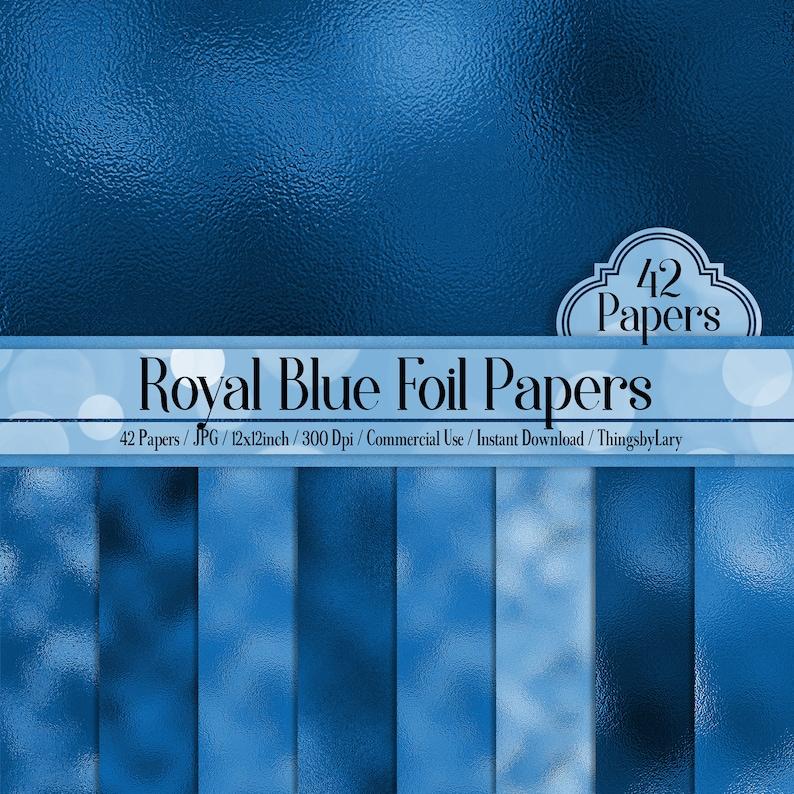 42 Royal Blue Foil Papers 12 inch 300 Dpi Planner Paper image 0