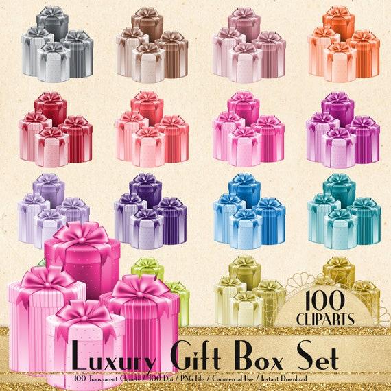 100 Luxury Gift Box Set Cliparts Planner Clipart Scrapbook Bridal Shower Birthday Party Birthday Gift Valentine Gift Gift Box