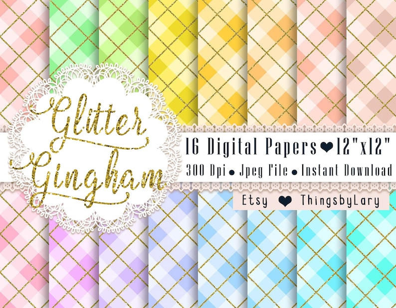 16 Gold Glitter Gingham Pattern Papers 12x12 Inch Jpeg File image 0