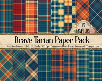 16 Princess Plaid Tartan Seamless Papers 12inch 300 Dpi Instant Download, Scrapbook Papers, Tartan, Gingham, Check, Commercial Use