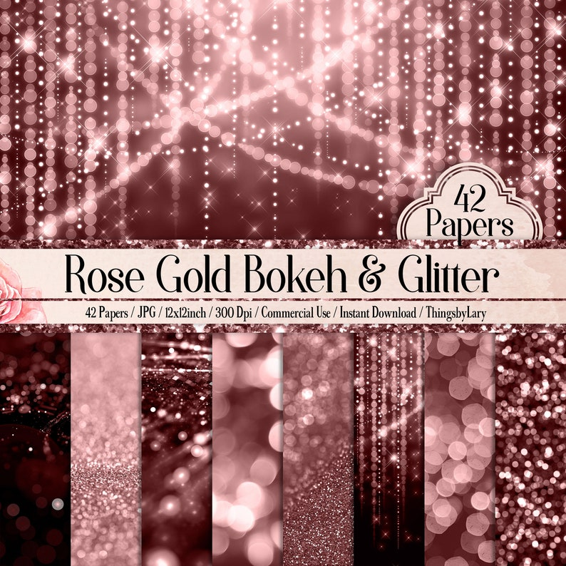 42 Rose Gold Bokeh Papers 12 inch 300 Dpi Planner Paper image 0
