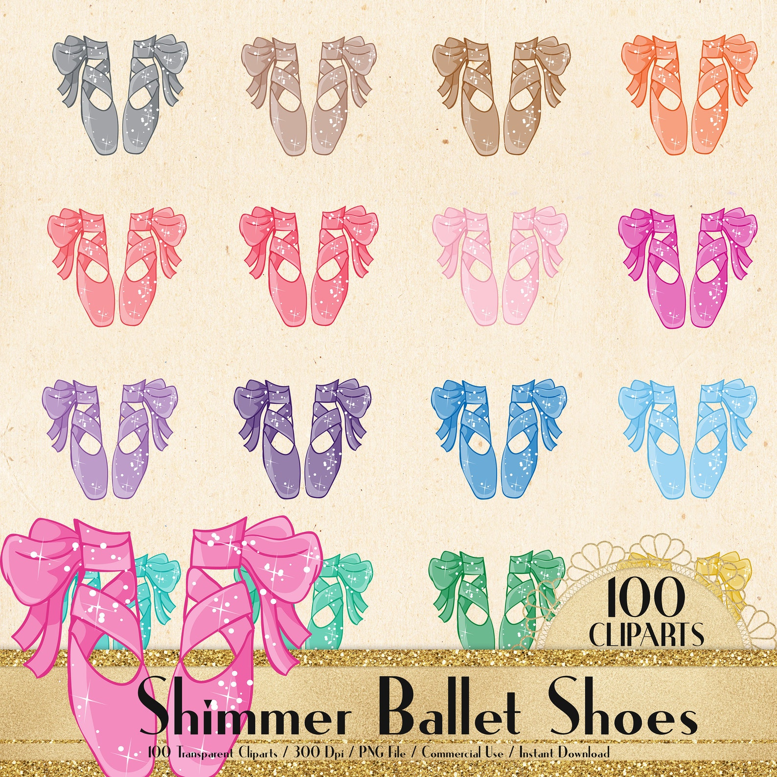 100 shimmer ballet shoes cliparts, planner clipart, scrapbook, princess shoes, fashion cliparts, bridal shoes, bridal shower, ba