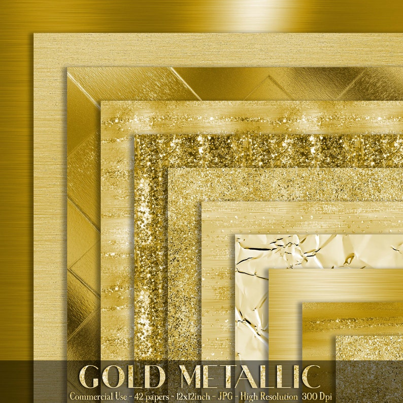 42 Gold Metallic Papers 12 inch 300 Dpi Planner Paper image 0