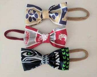 Seahawks/Washington State University Baby Bows/Husky Baby Bows/Sports Baby bows/ Football Baby Headband/Football Bow for Girls/Baby Headband