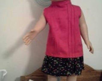"18"" doll Dropped Waist Pink/Cherries dress 302E"