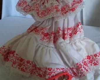 "18"" doll Red White Ruffled dress 339E"