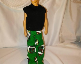 PJ pants and a black t-shirt sized for Ken