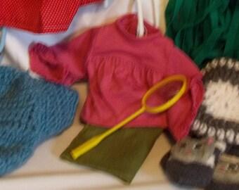 """18"""" doll Cordoroy skirt Ruffled blouse 354E"""