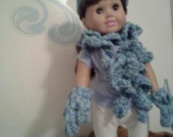 """18"""" doll Hat Scarf and Mitten set in Blue 304E"""