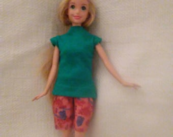 Barbie outfit Bermuda shorts with Green T shirt