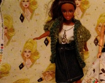 Barbie Jeans white blouse and Green sweater 150B