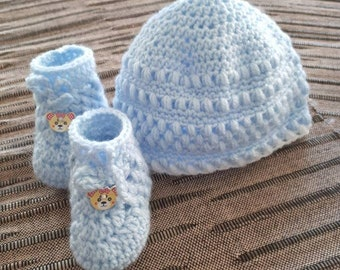 crocheted Baby hats and shoes for newborn boys, crocheted baby hat and shoes new born, cap baby shoes crochet 0-2 months