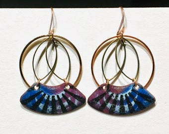 Lightweight Hoops Torch Fire Enamel Original Handmade in Alaska Aqua Honey Stacked Color and Shapes Gift for her Jewelry Glass