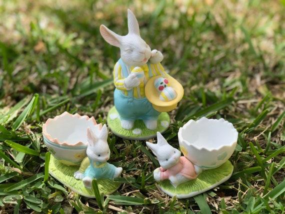 Princess House 3 Piece Porcelain Bunny Rabbit Figurines Easter Etsy