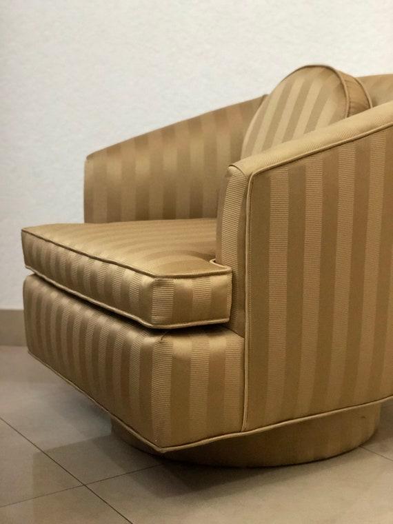Sensational Mcm Swivel Barrel Chair Milo Baughman Style Hollywood Regency Vintage Mid Century Modern Chair Reupholstered In Gold Stripe Jacquard Fabric Evergreenethics Interior Chair Design Evergreenethicsorg
